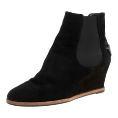 Fendi Black Suede Wedge Heel Ankle Boots Size 40