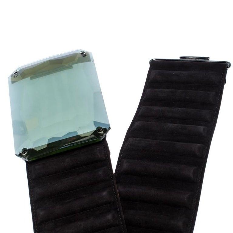 Women's Fendi Black Suede Wide Mirror Buckle Belt Size 75 For Sale