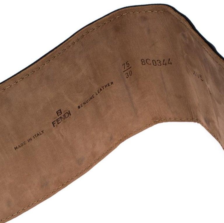 Fendi Black Suede Wide Mirror Buckle Belt Size 75 For Sale 1