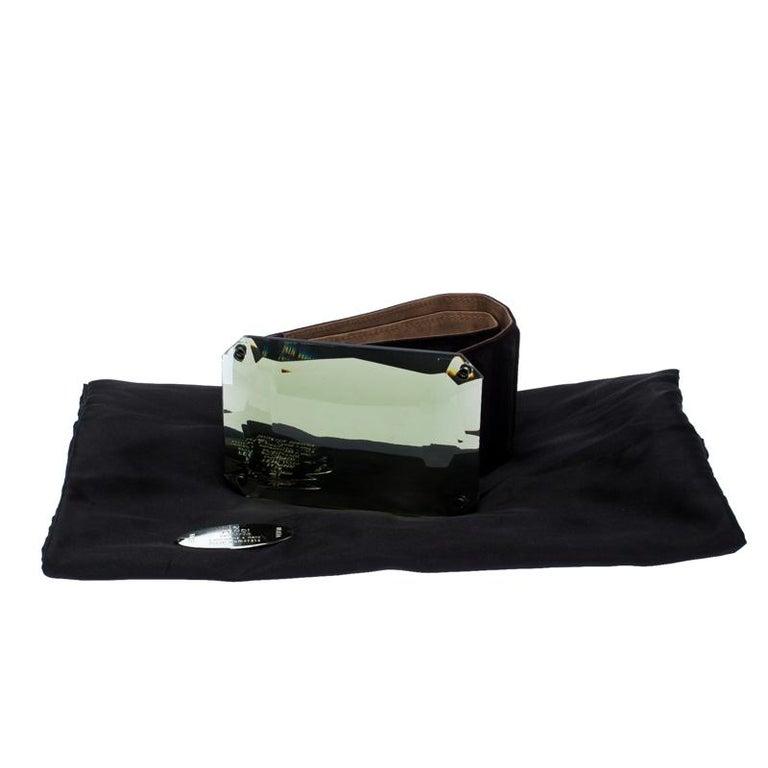 Fendi Black Suede Wide Mirror Buckle Belt Size 75 For Sale 2
