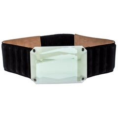 Fendi Black Suede Wide Mirror Buckle Belt Size 75