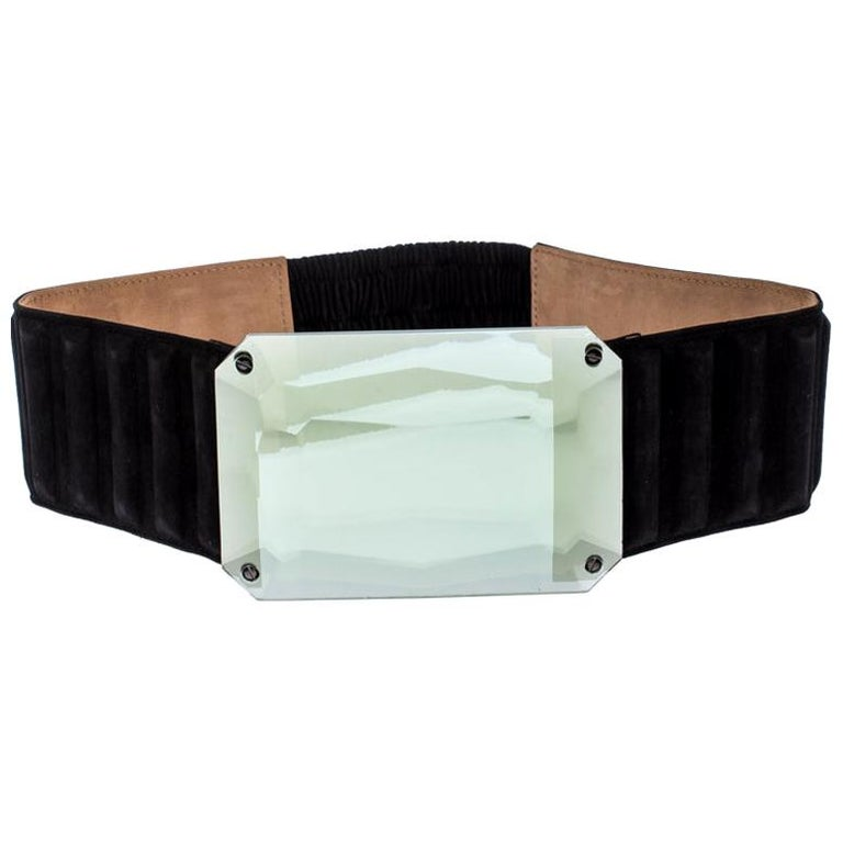 Fendi Black Suede Wide Mirror Buckle Belt Size 75 For Sale