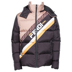 Fendi Black Synthetic Logo Printed Hoodie Puffer Jacket XL