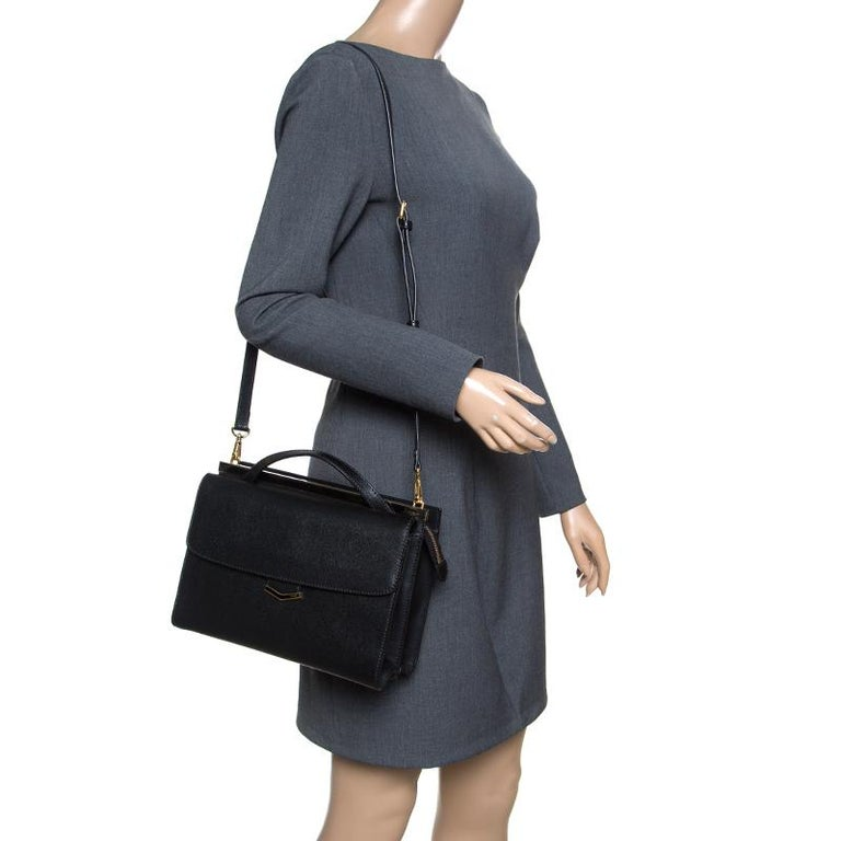 f4a9f5099bc Fendi Black Textured Leather Small Demi Jour Top Handle Bag In Excellent  Condition For Sale In