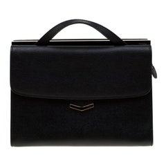 Fendi Black Textured Leather Small Demi Jour Top Handle Bag