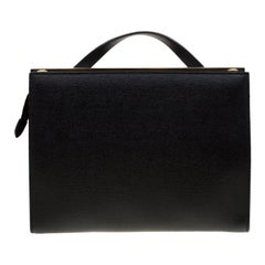 Fendi Black Textured Leather Small Demi Jour Top Handle Bag