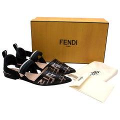 Fendi Black & Transparent Colibri Flat Logo Pumps - Size EU 36