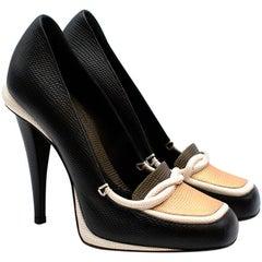 Fendi Black White & Gold Lizard Embossed Leather Loafer - Size 38