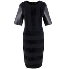 Fendi Black Wool Blend Striped Dress with Leather Sleeves 40