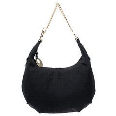 Fendi Black Zucca Canvas and Leather Chef Chain Link Hobo