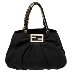 Fendi Black Zucca Canvas and Patent Leather Large Mia Shoulder Bag