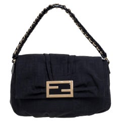 Fendi Black Zucca Canvas and Patent Leather Mia Flap Shoulder Bag