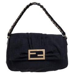 Fendi Black Zucca Canvas and Patent Leather Mia Flap Shoulder Bag
