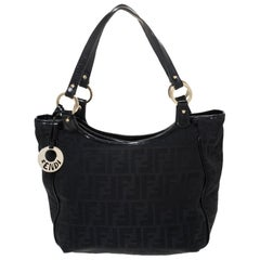 Fendi Black Zucca Canvas Chef Shopper Tote