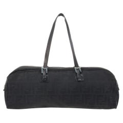 Fendi Black Zucca Canvas East/West Satchel Bag