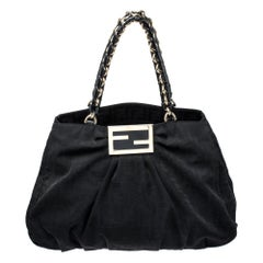 Fendi Black Zucca Canvas Large Mia Shoulder Bag