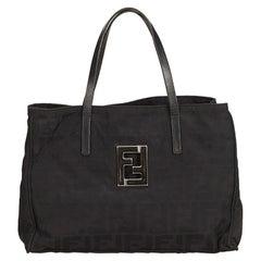 Fendi Black Zucca Canvas Tote Bag