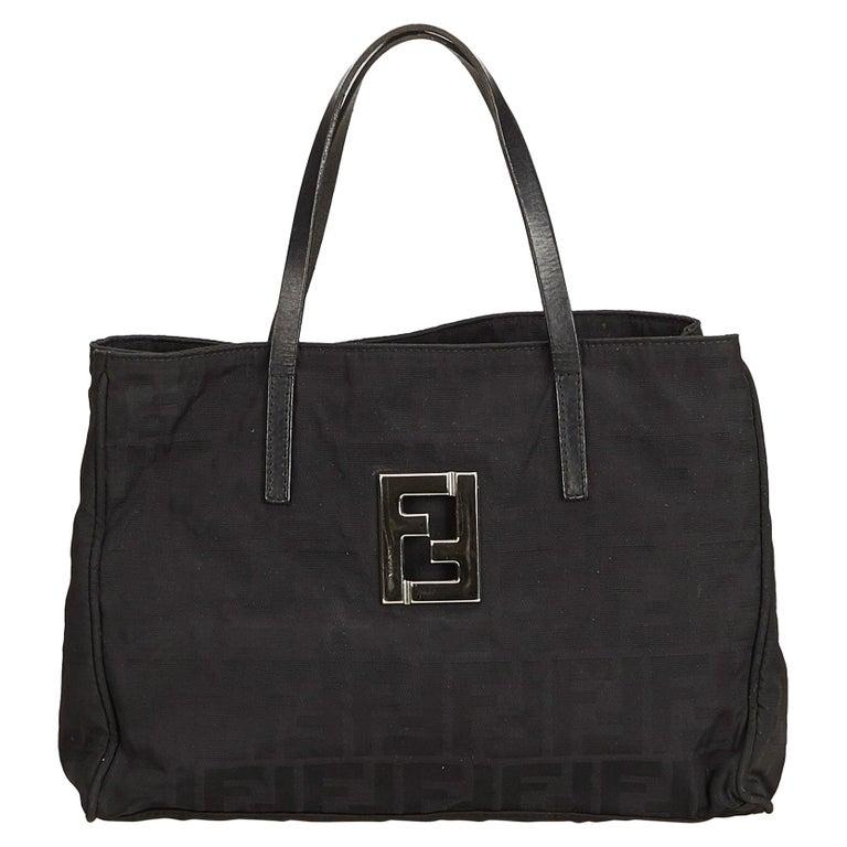 57b0a70efe24 Fendi Black Zucca Canvas Tote Bag at 1stdibs
