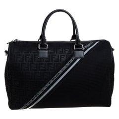 Fendi Black Zucca Mesh and Leather Duffle Bag