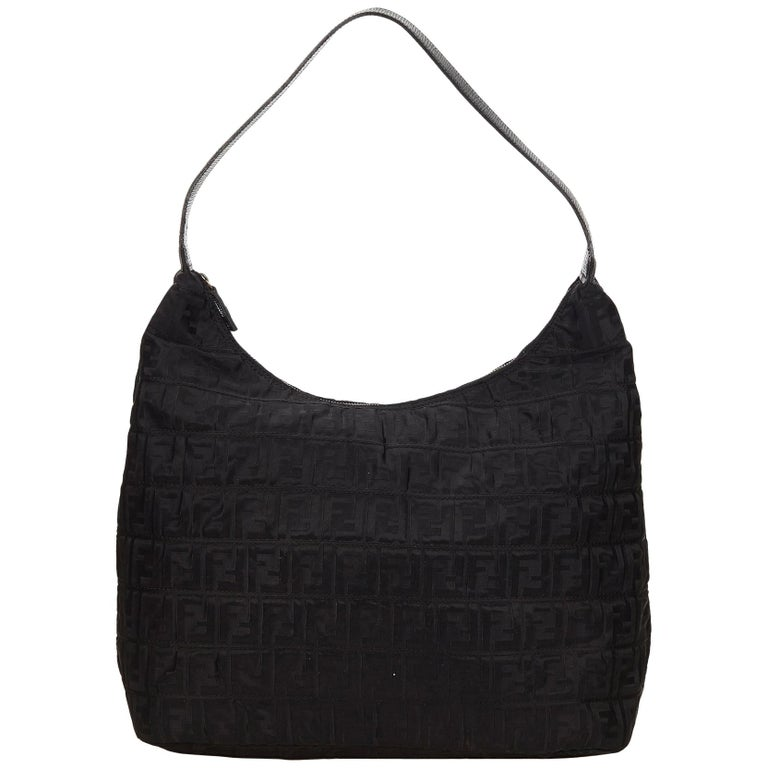 1f4fc786d7da Fendi Black Zucca Nylon Hobo Bag at 1stdibs