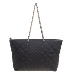 Fendi Black Zucca Quilted Fabric Roll Tote
