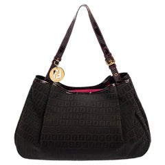 Fendi Black Zucchino Canvas and Patent Leather Hobo
