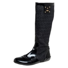 Fendi Black Zucchino Canvas And Patent Leather Knee High Boots Size 38.5