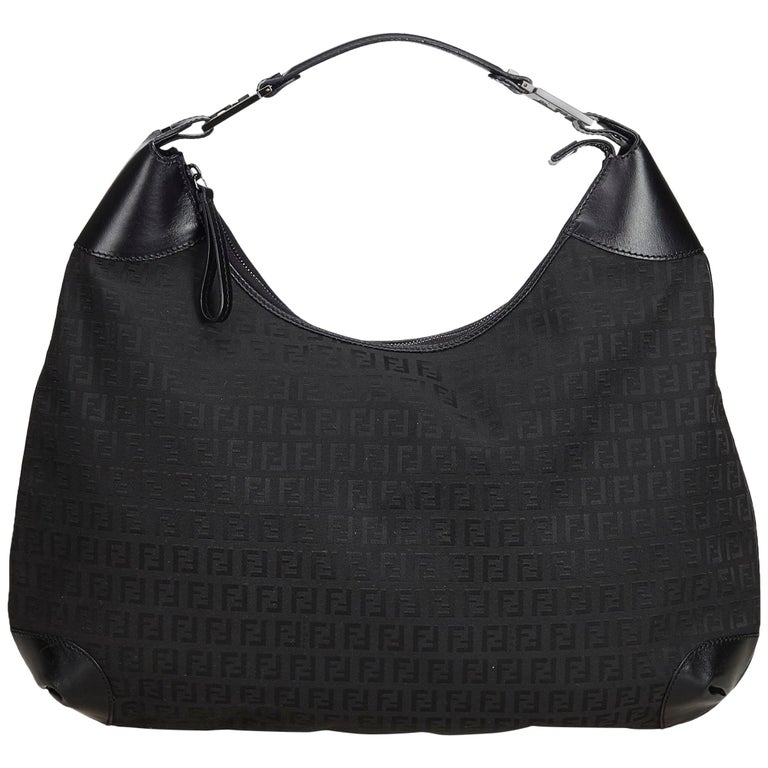 1a335c0ad782 Fendi Black Zucchino Canvas Hobo Bag at 1stdibs