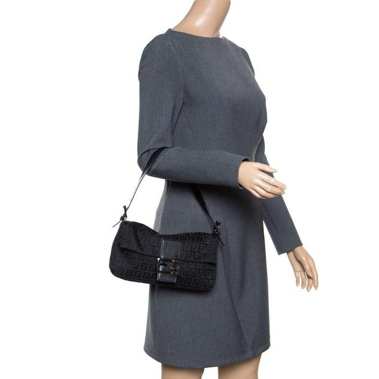 f376ddab787e Fendi Black Zucchino Canvas Mama Baguette Bag In Good Condition For Sale In  Dubai