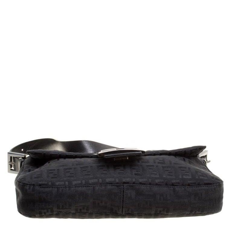 0e5d6f6e893f Fendi Black Zucchino Canvas Mama Baguette Bag at 1stdibs