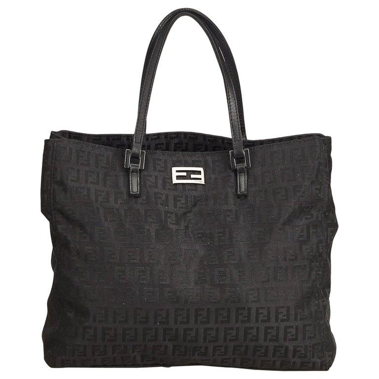 ce592227a6d Fendi Black Zucchino Canvas Tote Bag at 1stdibs
