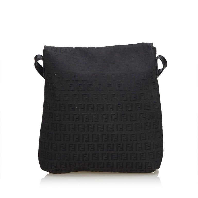 Fendi Black Zucchino Jacquard Crossbody Bag In Good Condition For Sale In  Orlando beef3d0be4da2