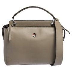 Fendi Bleeker Beige Leather Dotcom Top Handle Bag