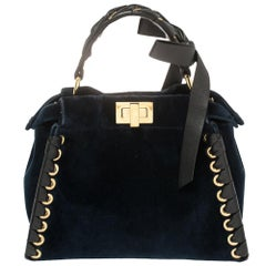 Fendi Blue/Black Velvet And Leather Ribbons Mini Peekaboo Top Handle Bag