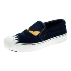 Fendi Blue Calfhair and Leather Monster Slip On Sneakers Size 37