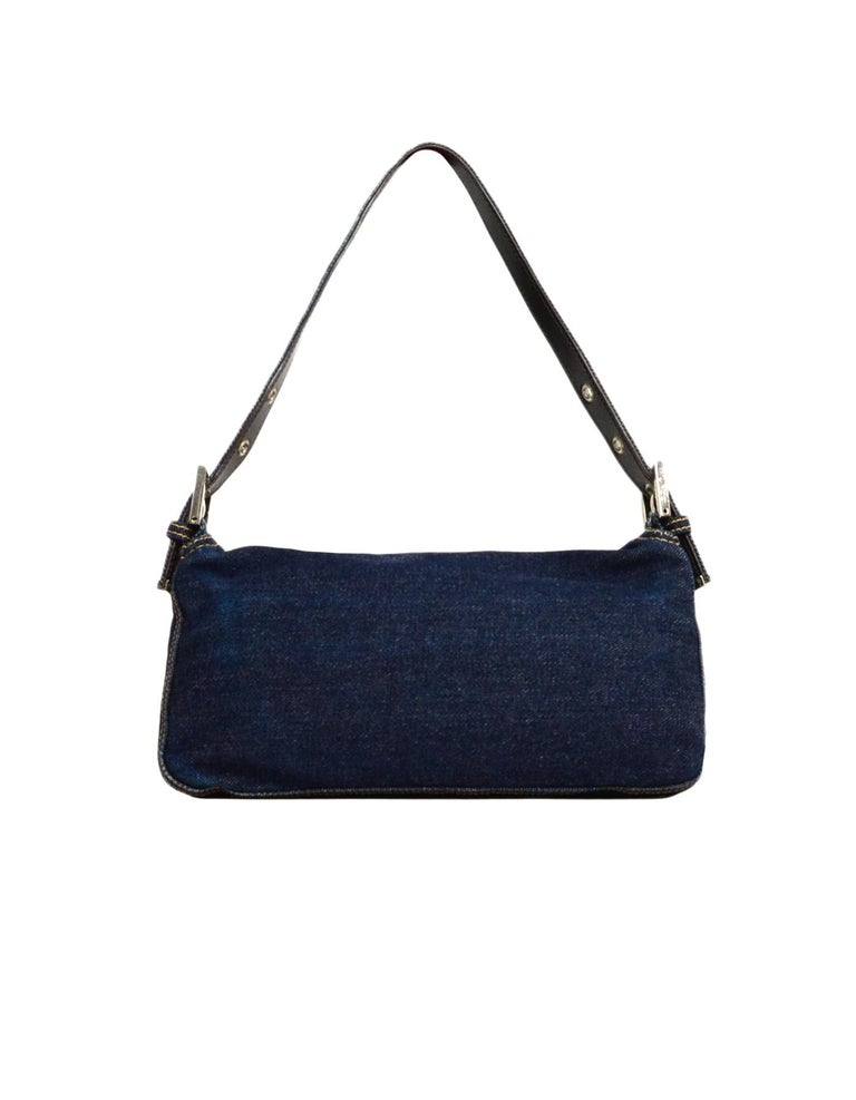 Black Fendi Blue Denim Baguette Bag W/ Logo Buckle