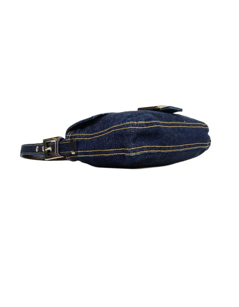 Fendi Blue Denim Baguette Bag W/ Logo Buckle In Excellent Condition In New York, NY