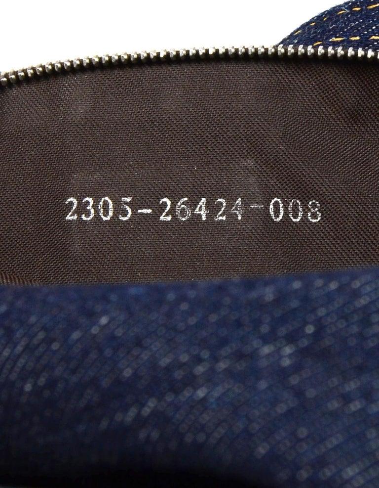 Fendi Blue Denim Baguette Bag W/ Logo Buckle 3