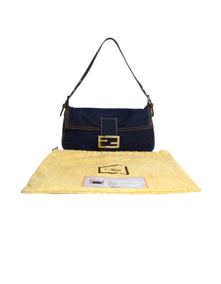 Fendi Blue Denim Baguette Bag W/ Logo Buckle 4
