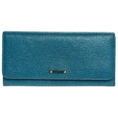 Fendi Blue Elite Leather Classic Flap Wallet