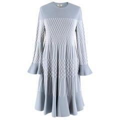 Fendi Blue Embroidered Stitch Detail Knit Midi Dress 40 IT/ 8 UK