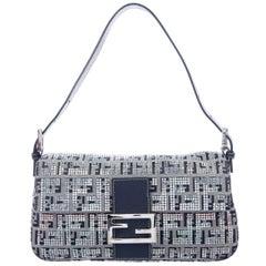 Fendi Blue Fabric Logo Crystal Iridescent Baguette Evening Shoulder Flap Bag