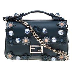 Fendi Blue Flowerland Leather Double Micro Baguette Bag