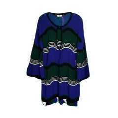 Fendi Blue Green Black Wave Stripe Crochet Dress sz IT 40