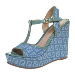 Fendi Blue/Green Canvas And Patent Leather Wedge Sandals Size 38.5