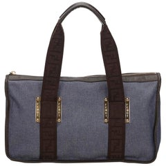 Fendi Blue Jacquard Handbag