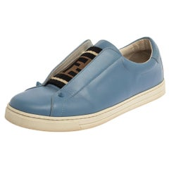 Fendi Blue Leather And Cotton Knit Logo Slip On Sneakers Size 40