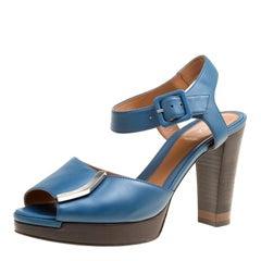 a5b31c8616f Fendi Tricolor Leather Faux Pearl Embellished Platform Sandals Size ...