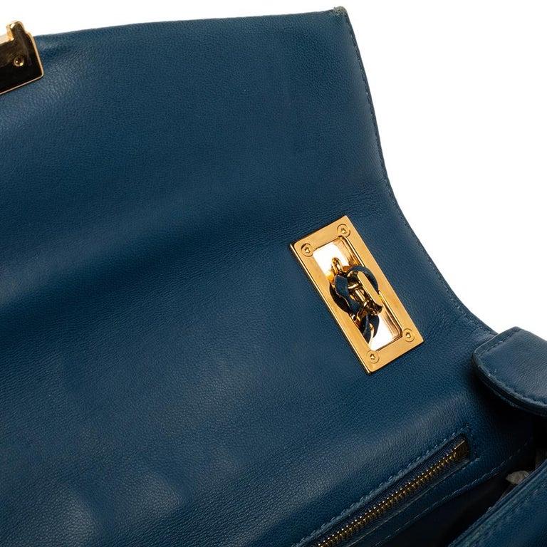 Fendi Blue Leather Be Baguette Shoulder Bag For Sale 6
