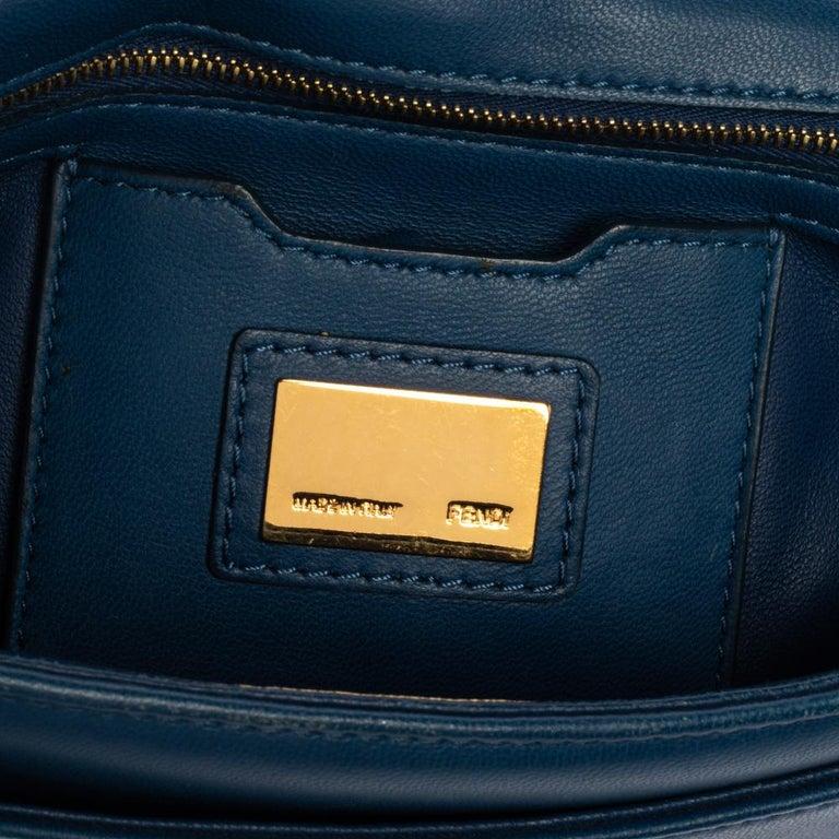 Fendi Blue Leather Be Baguette Shoulder Bag For Sale 7